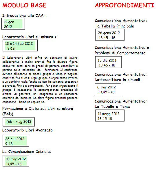 calendario formazione CAA