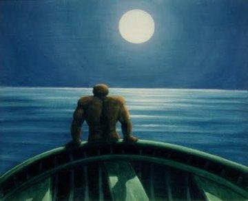 uomo di spalle che scruta il mare da una nave