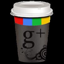 icona google+ disegnata su un bicchiere da caffè