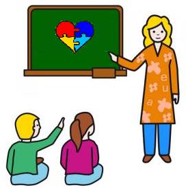 maestra che indica un cuore con i colori dell'autismo a due bambini seduti di fronte a lei