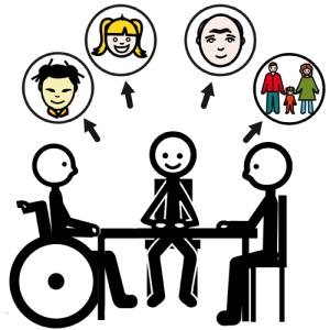 persone attorno a un tavolo (di cui uno in sedia a rotelle)  che discutono  su immigrazione, bambini, anziani, ecc...