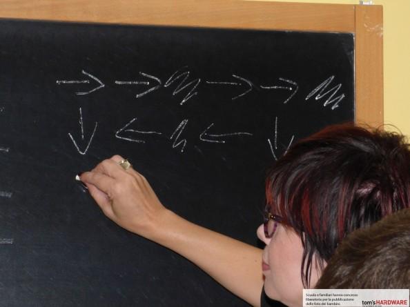 maestra alla lavagna che scrive un programma