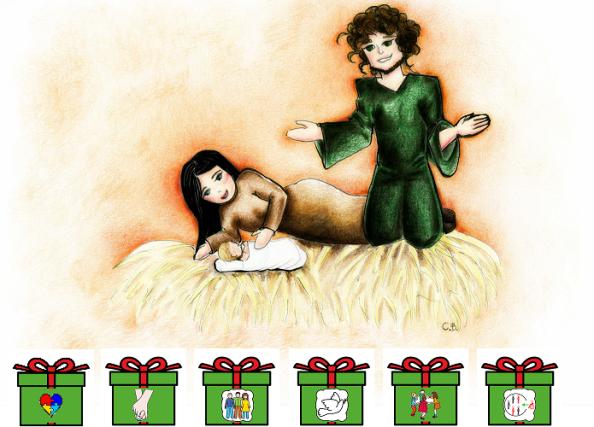 Natività con doni in simboli